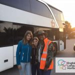 Summer school English Language Homestays students near bus