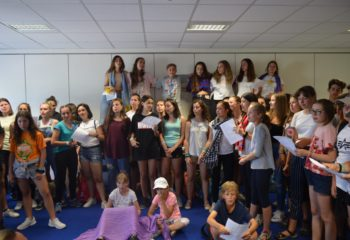 Summer school students singing Football's Coming Home