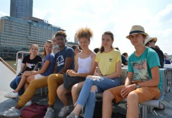 Summer School Students in the Ferry to Greenwich