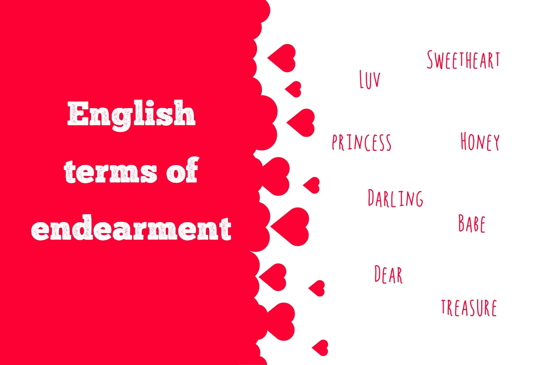 English terms of endearment used in the UK